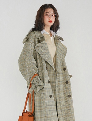 over fit check pattern trench coat